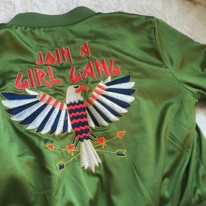 "FOREVER 21 ""Join A Girl Gang"" Green Bomber Jacket"
